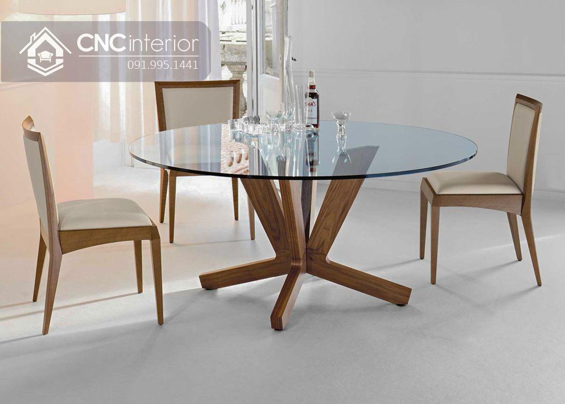 Mẫu bàn ăn tròn 6 ghế mặt kính cao cấp CNC 08