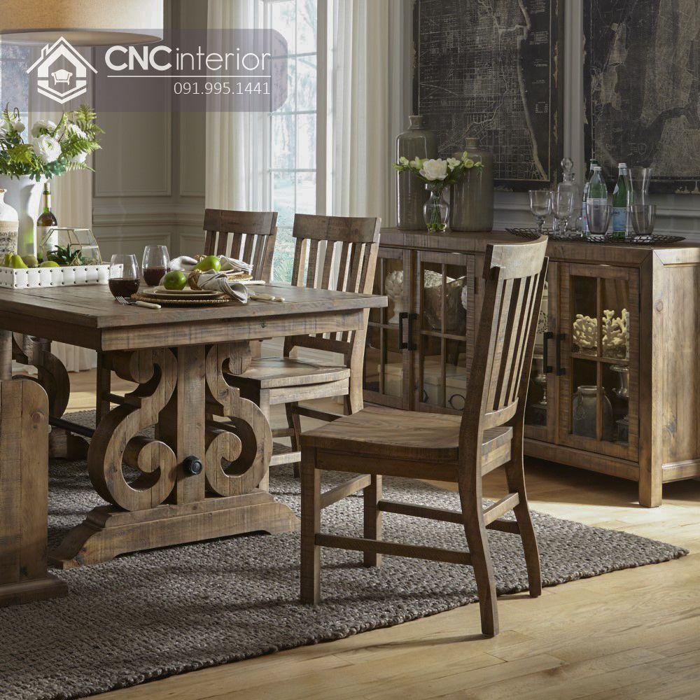 Mẫu bàn ghế ăn cổ điển CNC 10 2