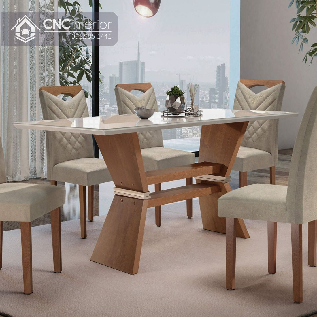 Bộ bàn ăn đẹp CNC 03