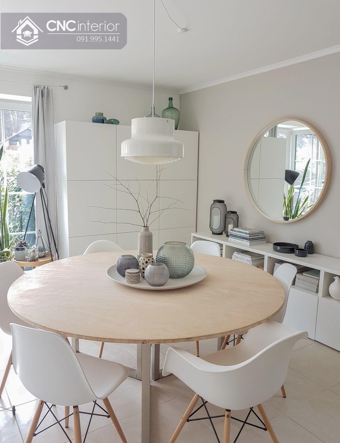 Bộ bàn ăn tròn 6 ghế tinh tế CNC 37