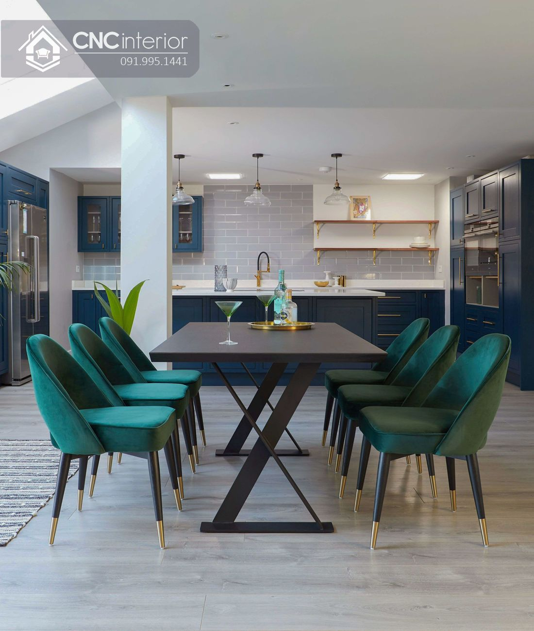 Bộ bàn ăn 6 ghế hiện đại CNC 43