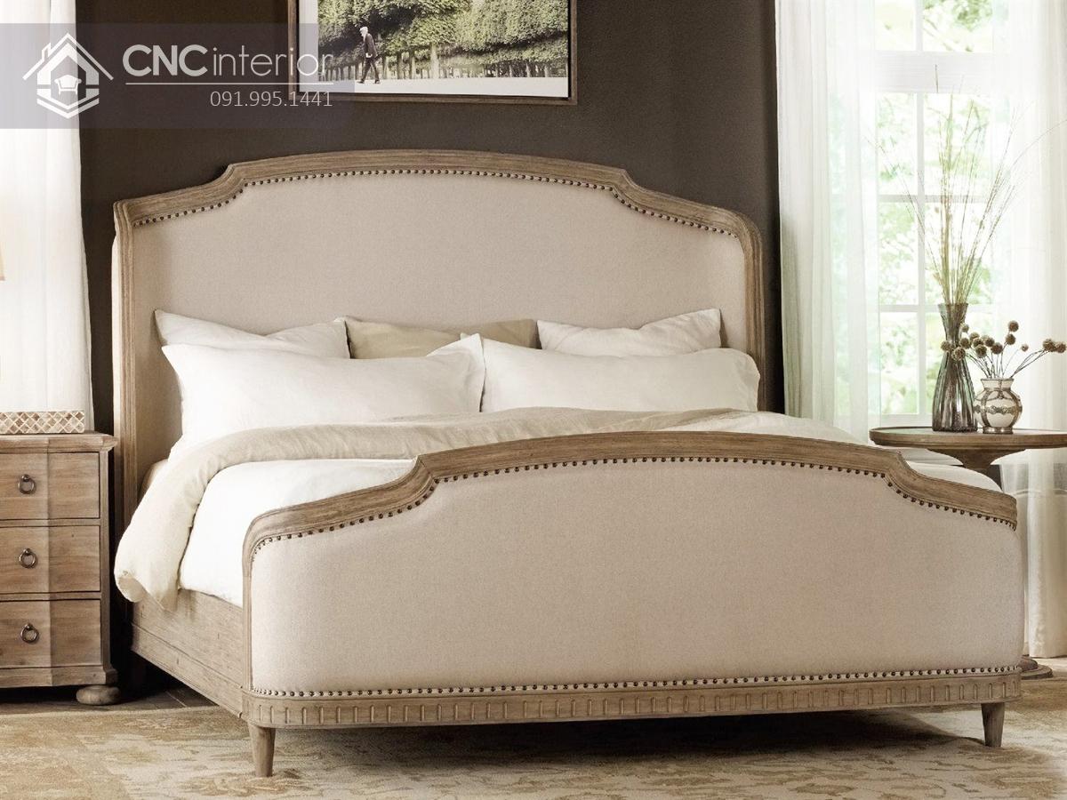 Giường ngủ gỗ sồi phong cách tân cổ điển CNC 22