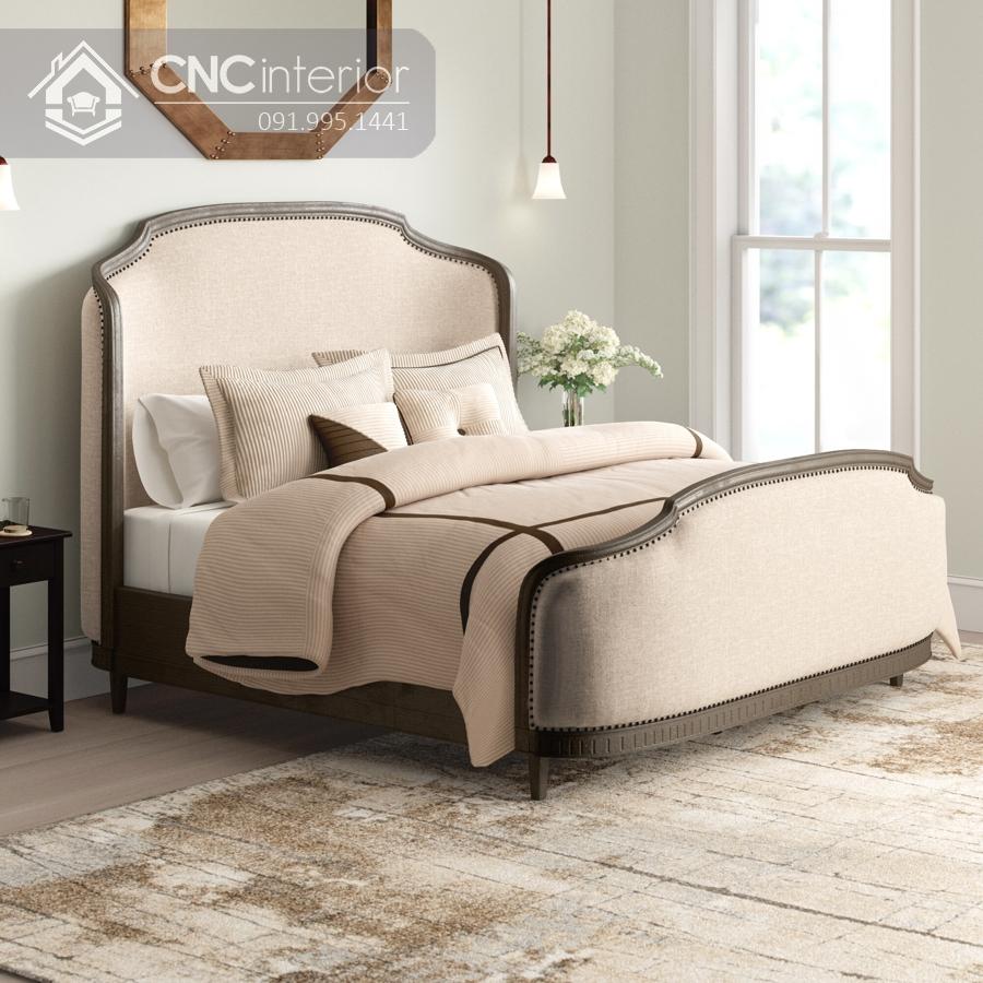 Giường ngủ gỗ sồi phong cách tân cổ điển CNC 22 4