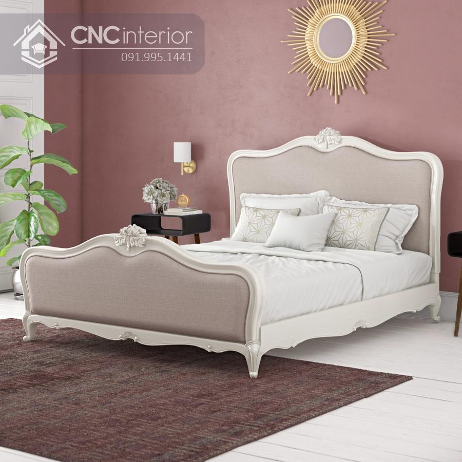 Giường gỗ sồi tự nhiên cao cấp sang trọng CNC 30
