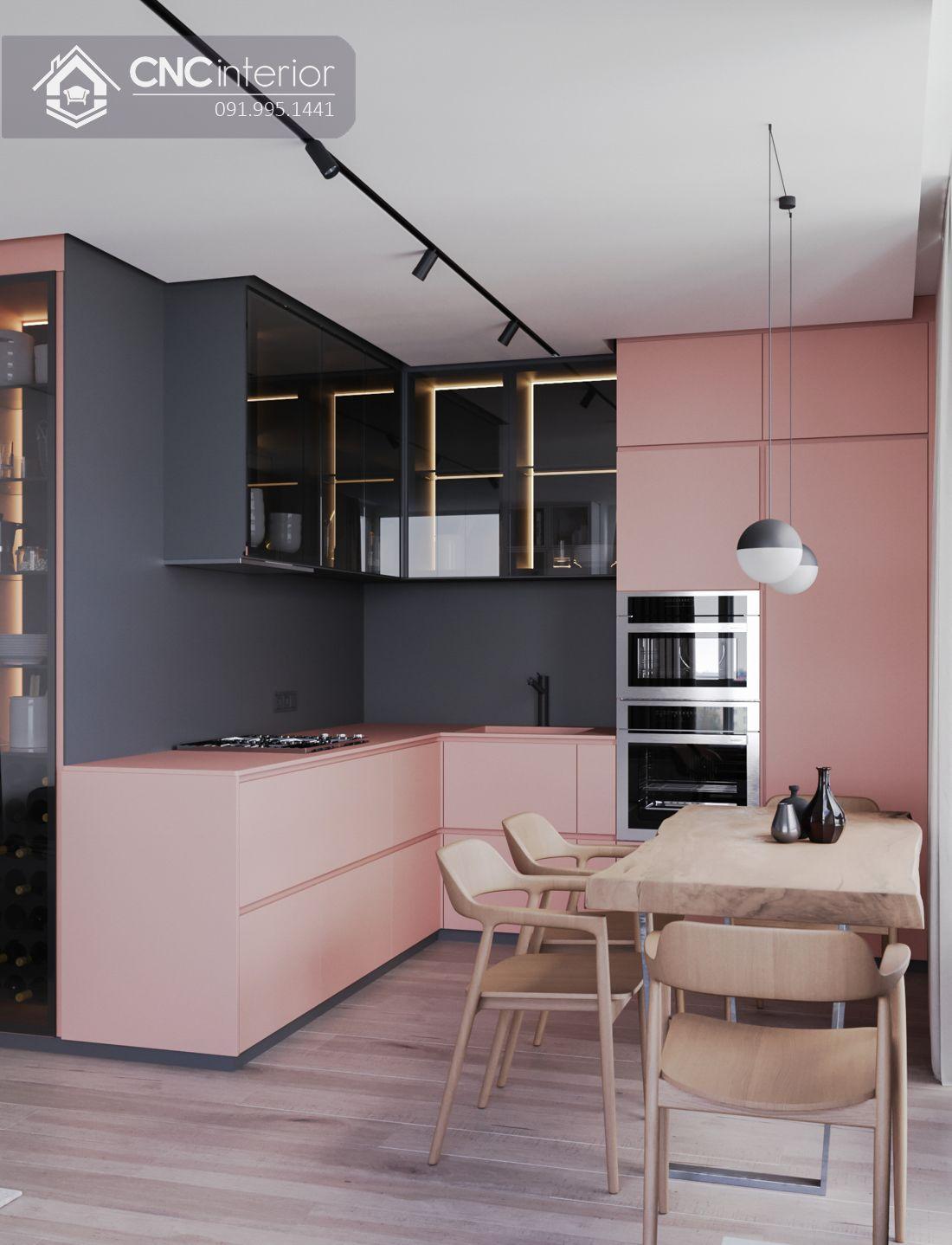 Tủ bếp bằng gỗ kết hợp kính đẹp hiện đại CNC 04 2