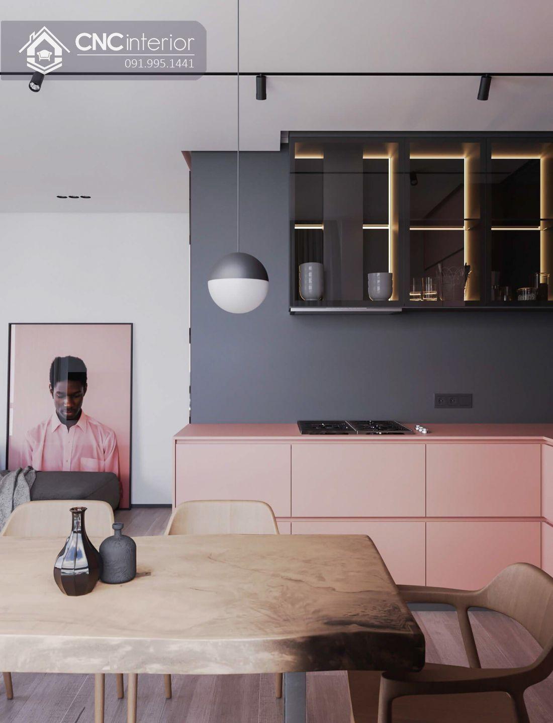 Tủ bếp bằng gỗ kết hợp kính đẹp hiện đại CNC 04 3