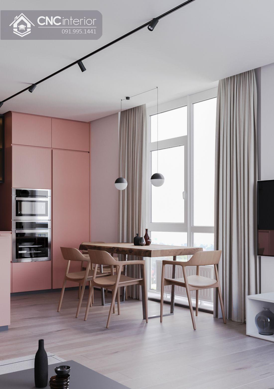 Tủ bếp bằng gỗ kết hợp kính đẹp hiện đại CNC 04 4