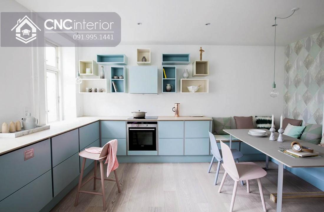 Tủ bếp có kệ treo tường màu pastel đẹp CNC 07