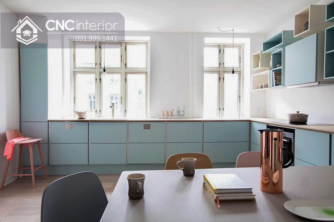 Tủ bếp có kệ treo tường màu pastel đẹp CNC 07 2