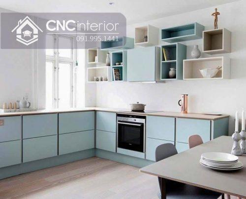 Tủ bếp có kệ treo tường màu pastel đẹp CNC 07 3