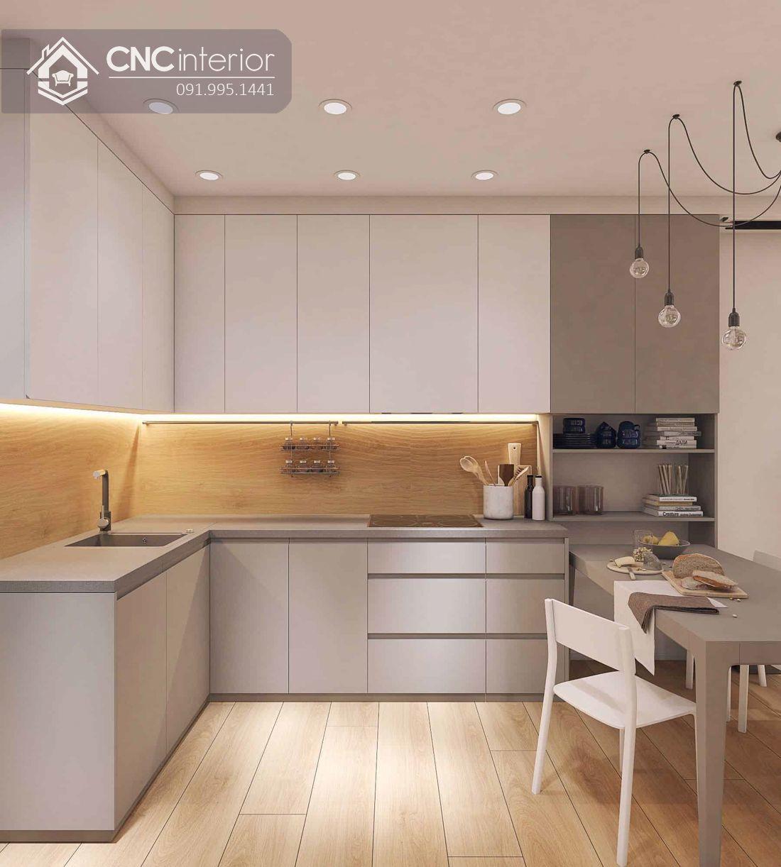 Tủ bếp đơn giản tiện nghi cho nhà nhỏ CNC 08