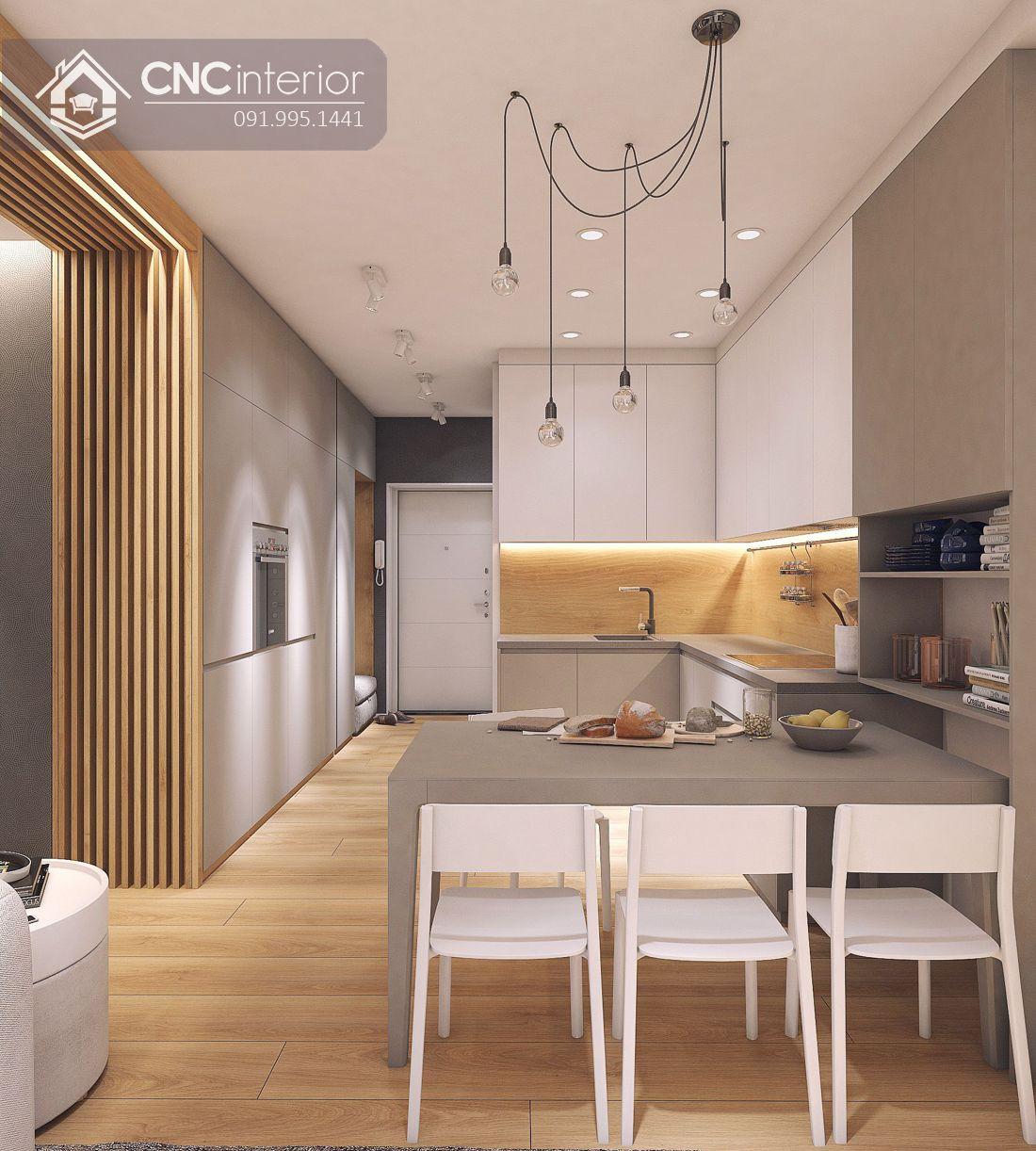Tủ bếp đơn giản tiện nghi cho nhà nhỏ CNC 08 1