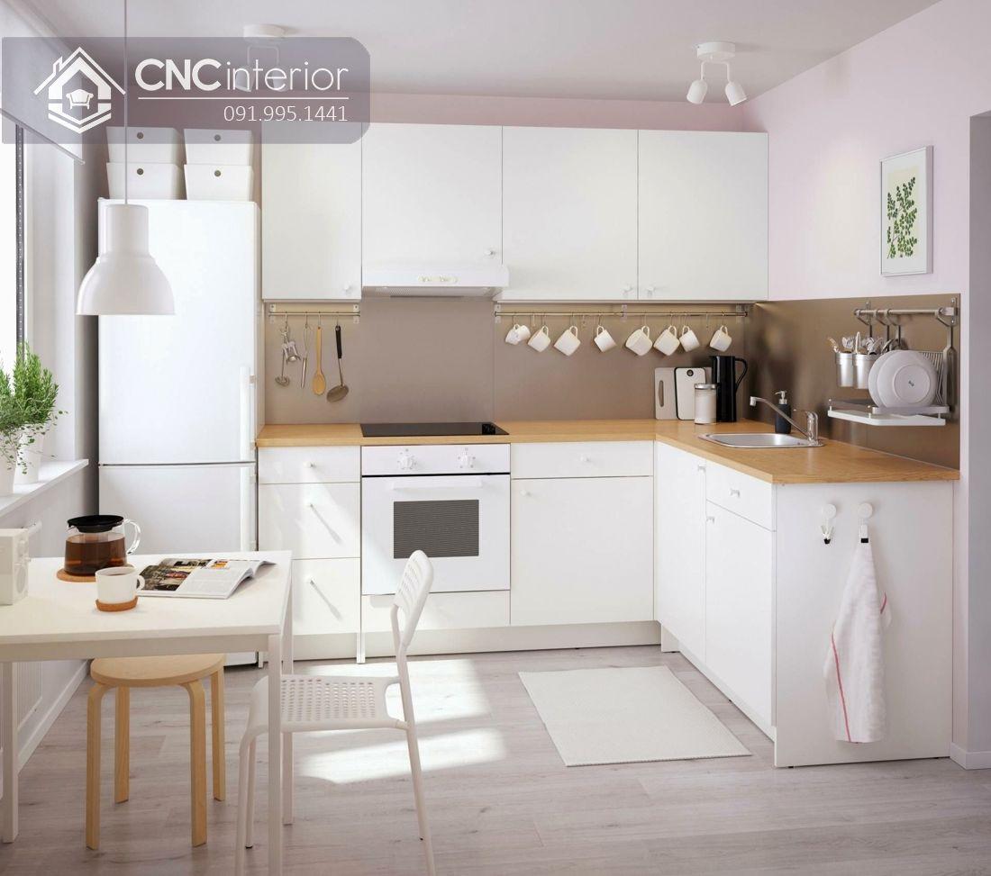 Tủ bếp công nghiệp màu trắng tinh tế gọn gàng CNC 25