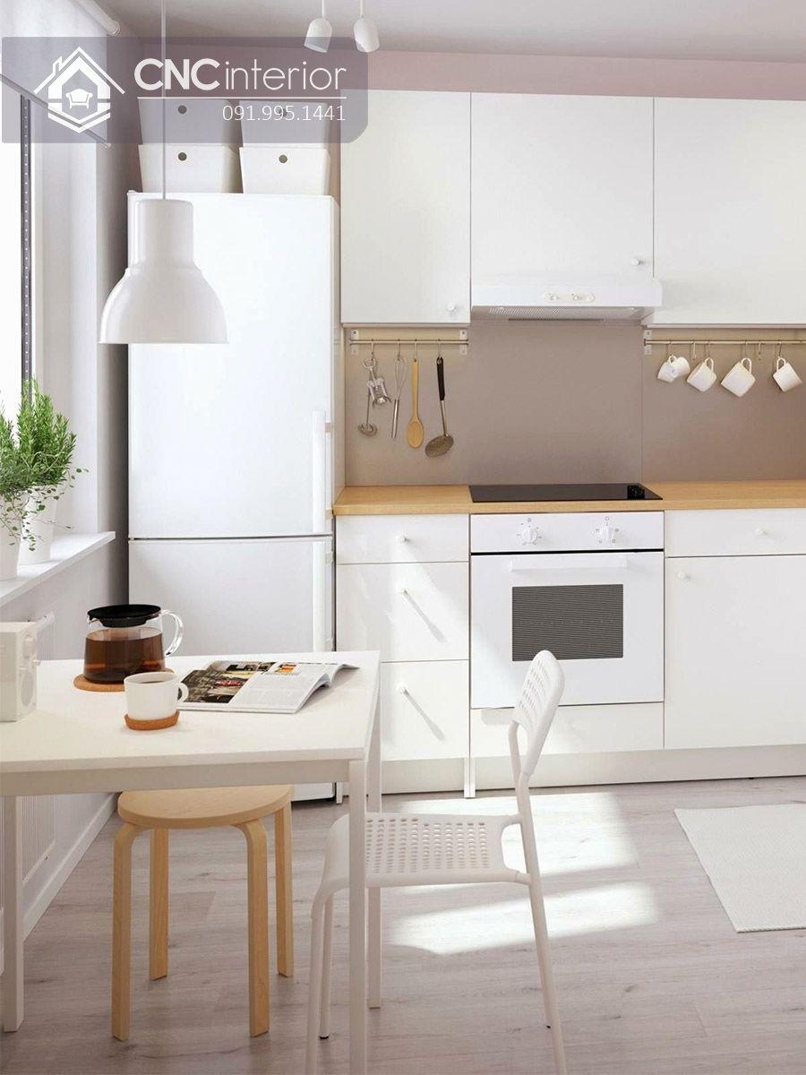 Tủ bếp công nghiệp màu trắng tinh tế gọn gàng CNC 25 1