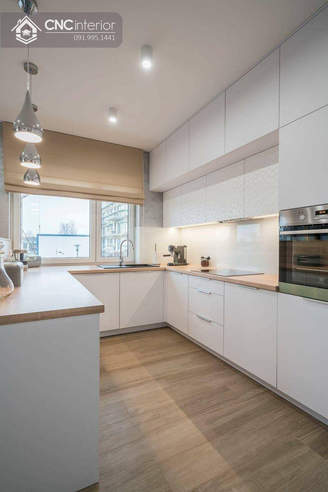 Tủ bếp chung cư màu trắng hiện đại CNC 27