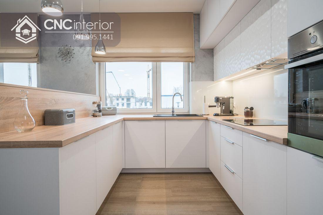 Tủ bếp chung cư màu trắng hiện đại CNC 27 1