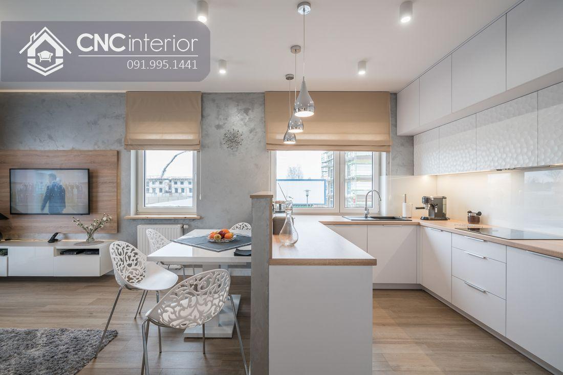 Tủ bếp chung cư màu trắng hiện đại CNC 27 2