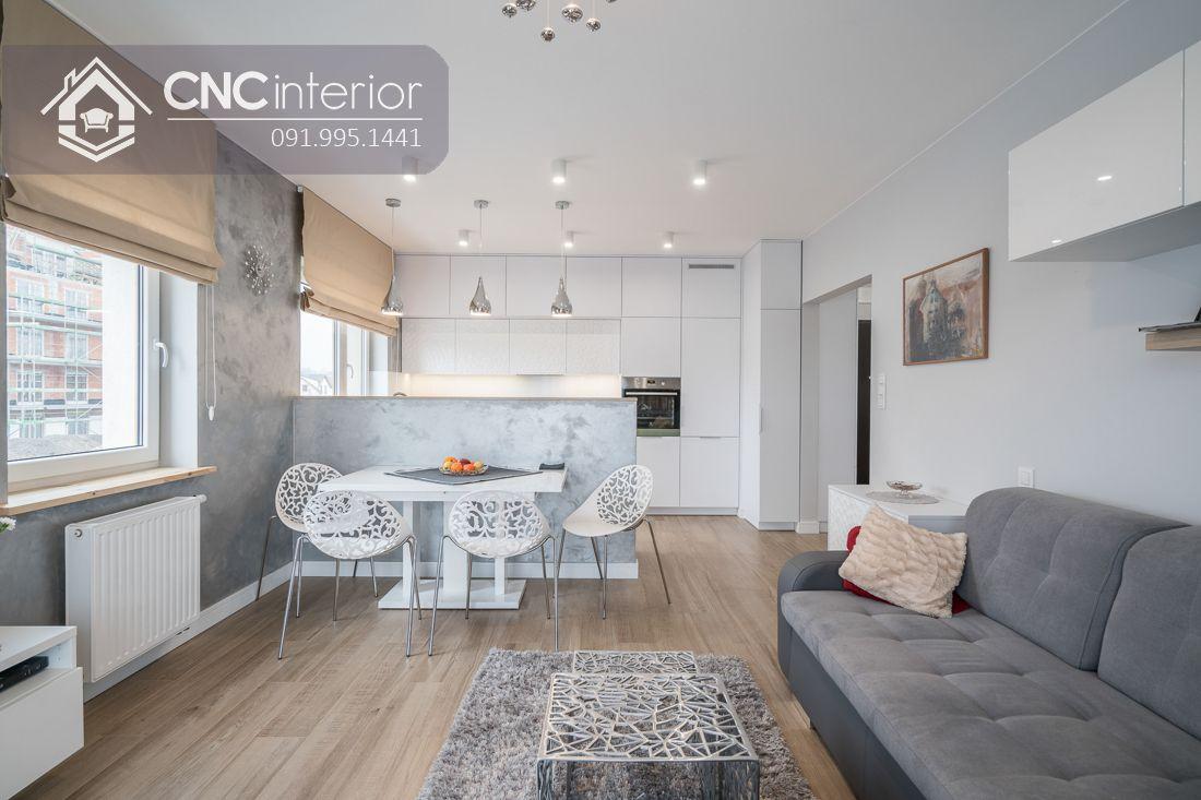 Tủ bếp chung cư màu trắng hiện đại CNC 27 3