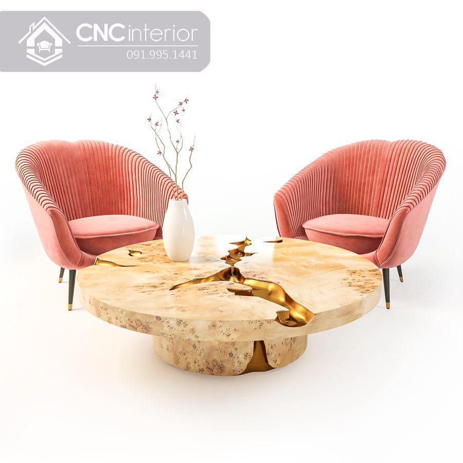 Ghế sofa đơn bọc vải màu hồng đẹp CNC 12