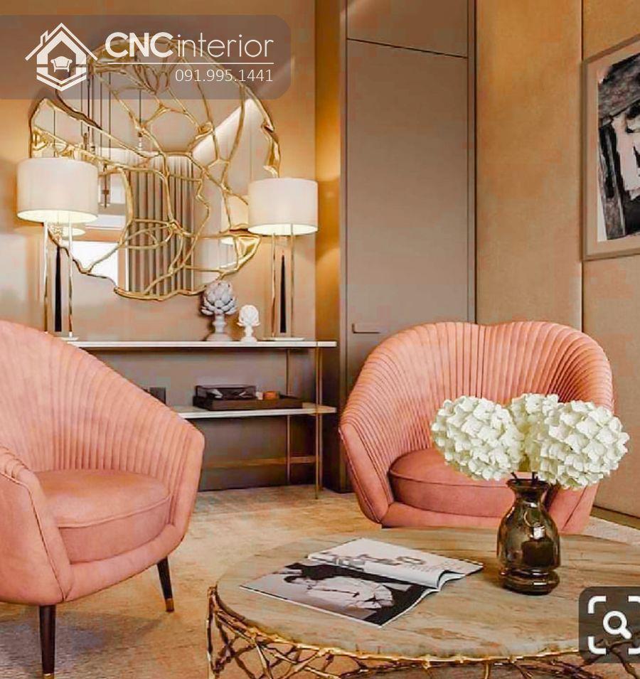 Ghế sofa đơn bọc vải màu hồng đẹp CNC 12 1