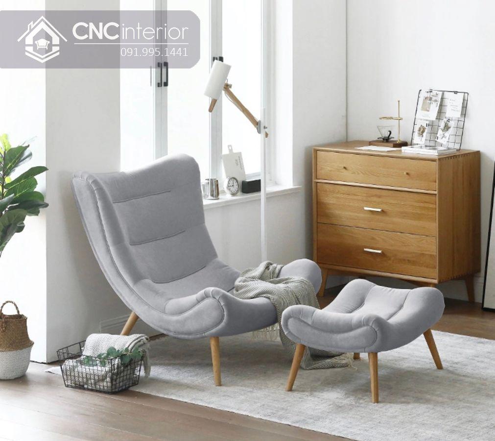 Ghế sofa đơn gỗ bọc vải hiện đại CNC 21 1