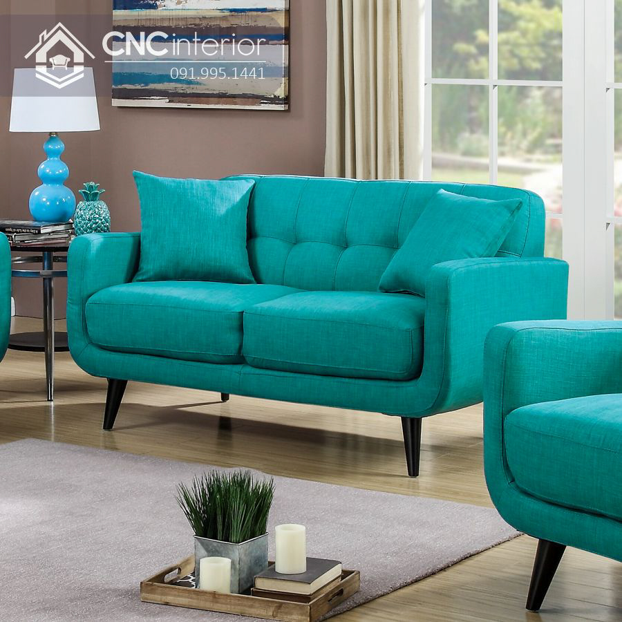 Ghế sofa gỗ bọc nỉ màu sắc trẻ trung CNC 30