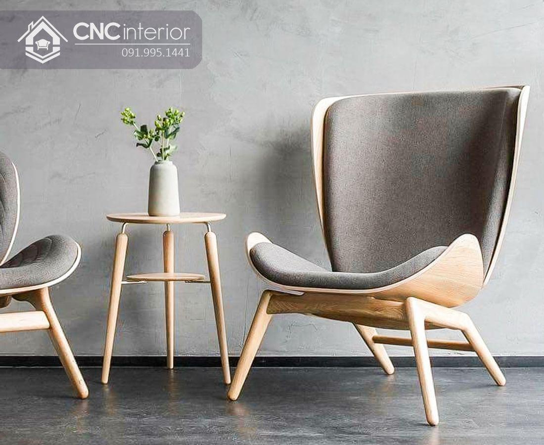 Ghế sofa đơn gỗ sồi cao cấp bền đẹp CNC 05