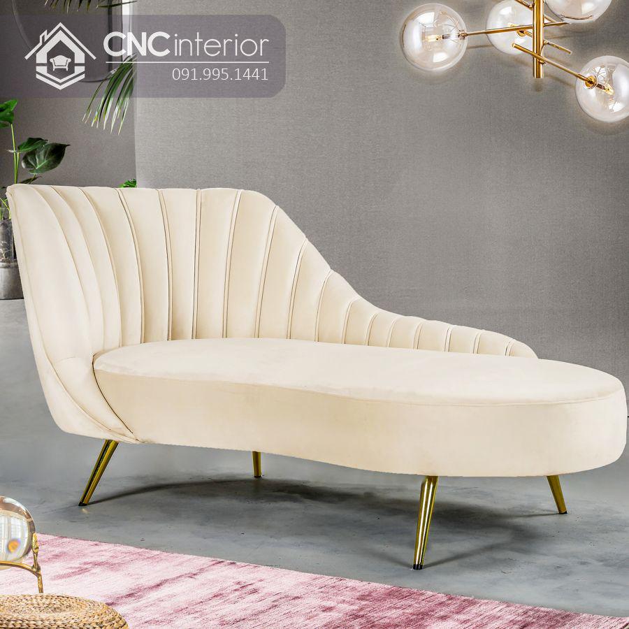 Ghế sofa nhung chân inox kiểu dáng bắt mắt CNC 08