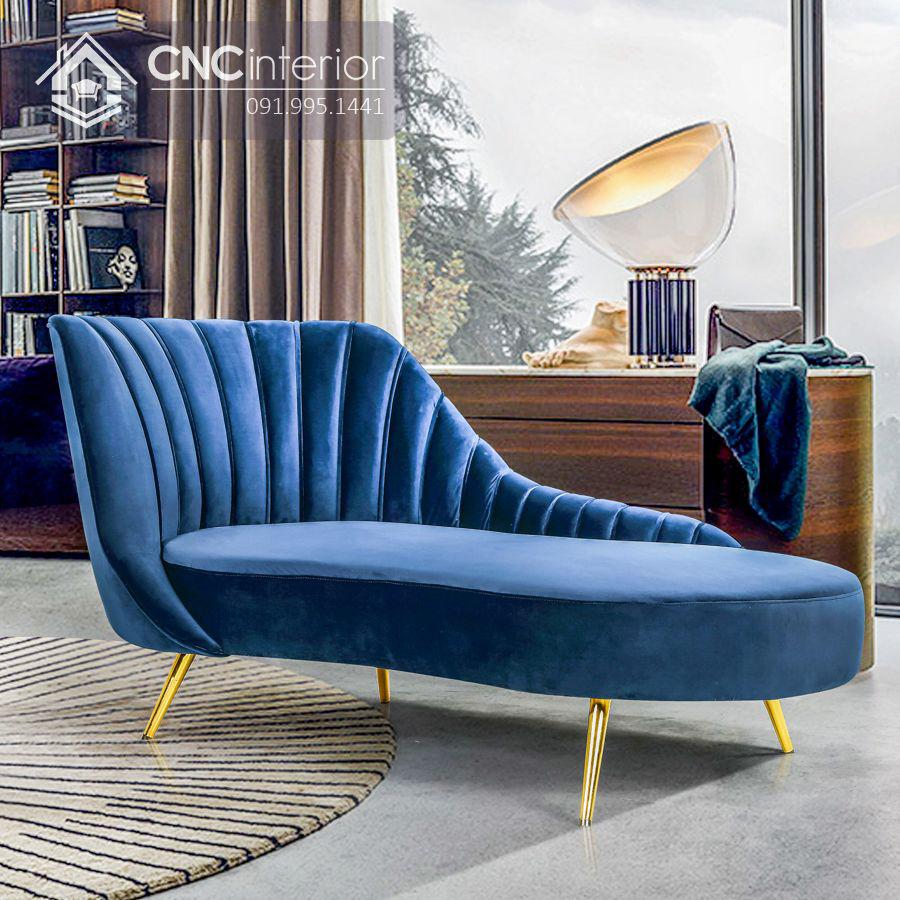 Ghế sofa nhung chân inox kiểu dáng bắt mắt CNC 08 1