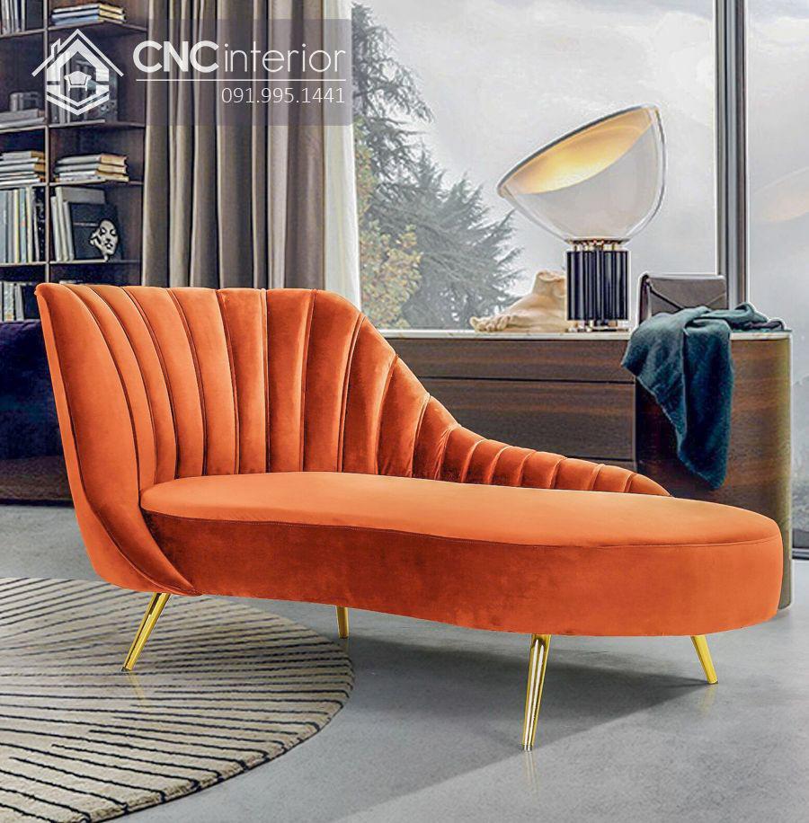 Ghế sofa nhung chân inox kiểu dáng bắt mắt CNC 08 2