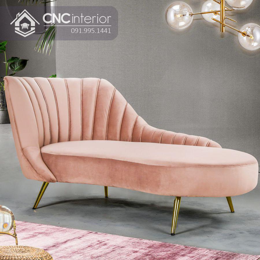 Ghế sofa nhung chân inox kiểu dáng bắt mắt CNC 08 3