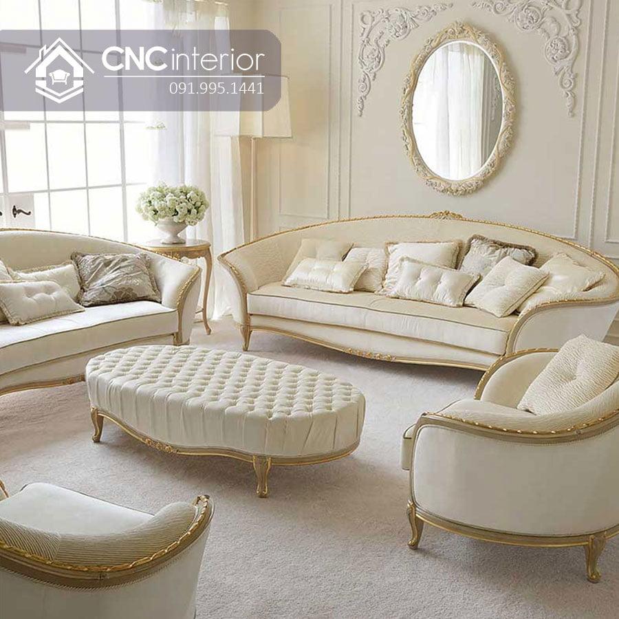 Bộ ghế sofa tân cổ điển màu trắng sang trọng CNC 41