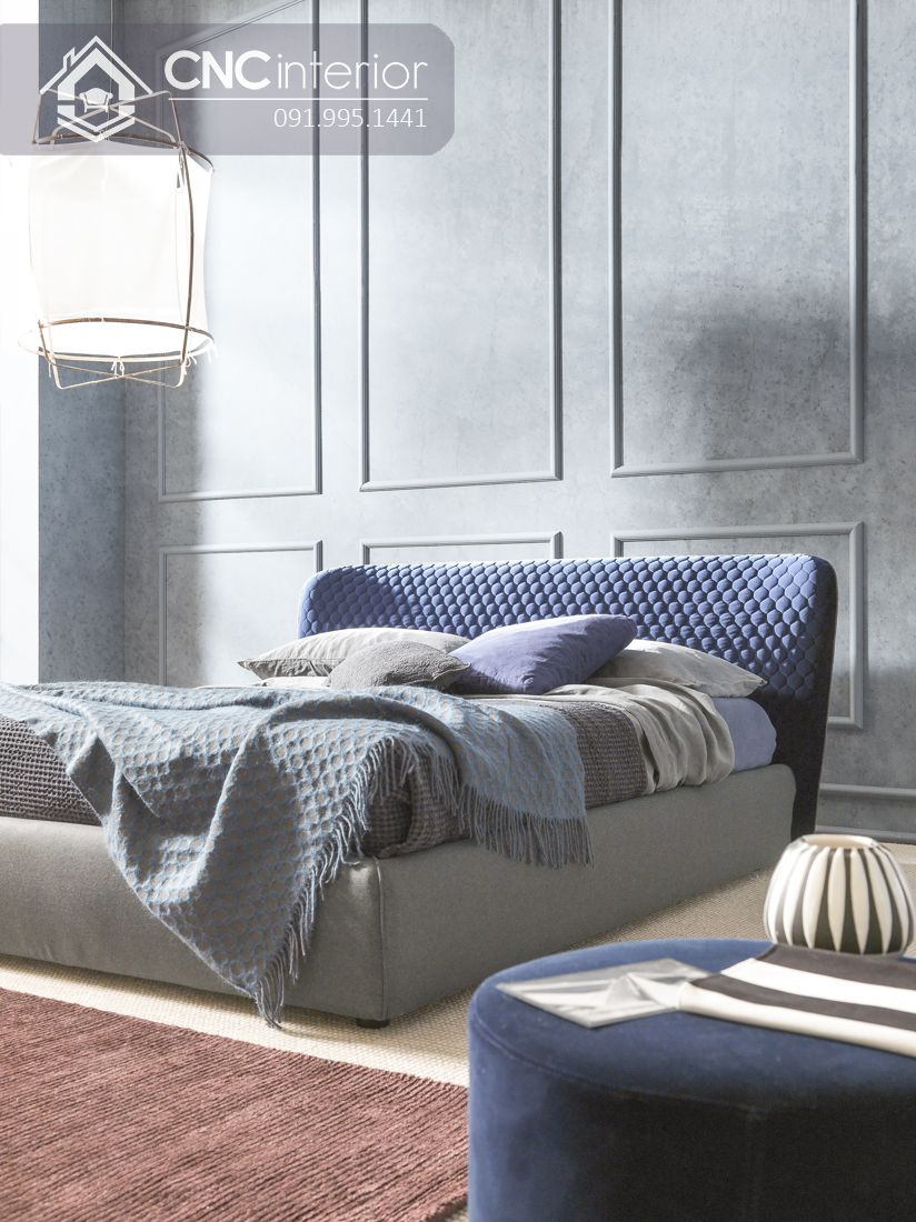 Giường ngủ gỗ công nghiệp bọc vải đẹp CNC 01 1