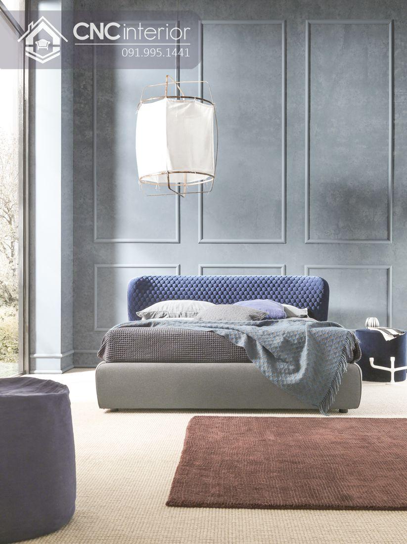 Giường ngủ gỗ công nghiệp bọc vải đẹp CNC 01