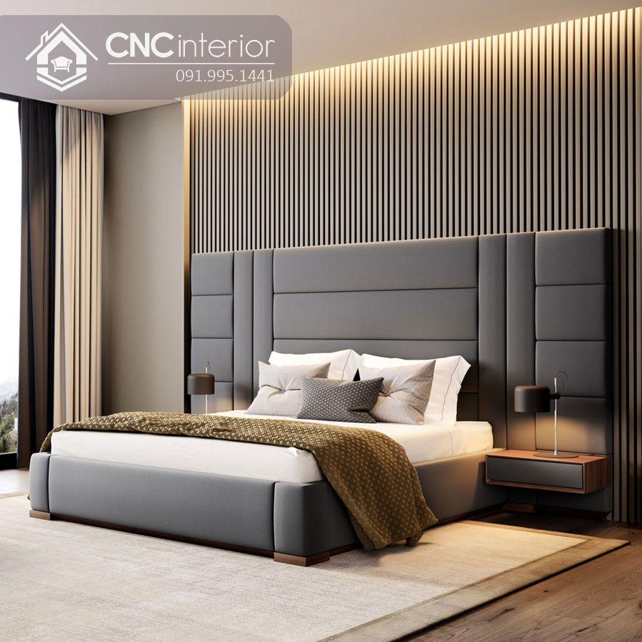 Giường ngủ bọc nỉ bằng gỗ cao cấp CNC 05 1