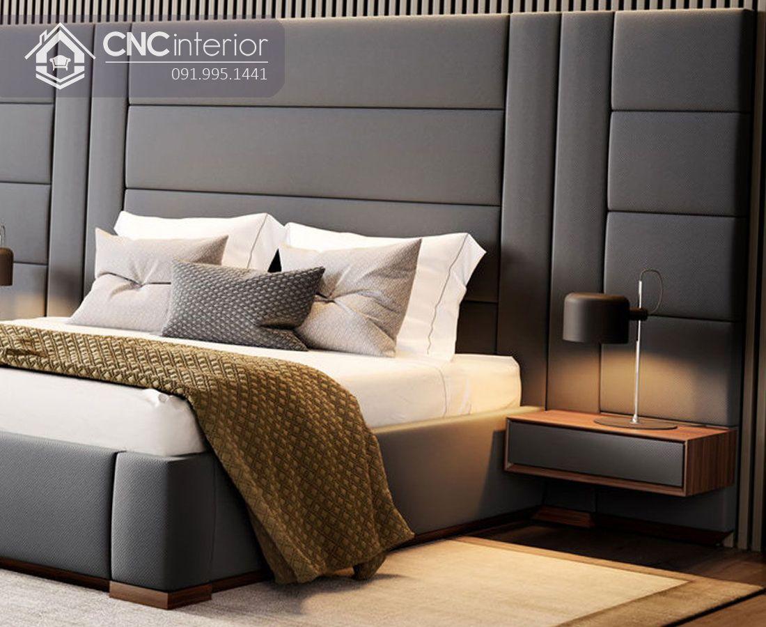 Giường ngủ bọc nỉ bằng gỗ cao cấp CNC 05