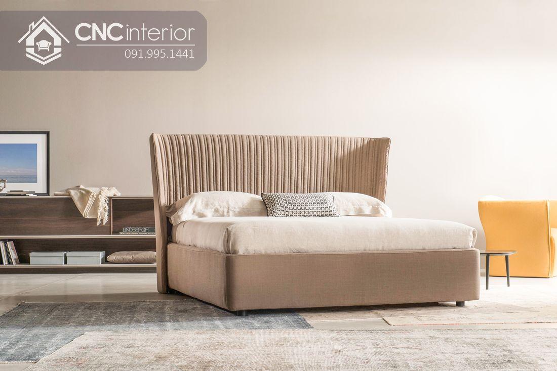 Giường ngủ bằng gỗ bọc vải nhung cao cấp CNC 06
