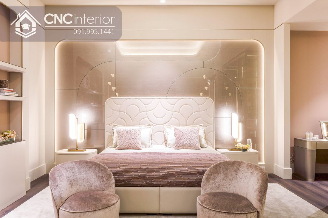 Giường ngủ gỗ công nghiệp bọc vải màu trắng tinh tế CNC 07 1
