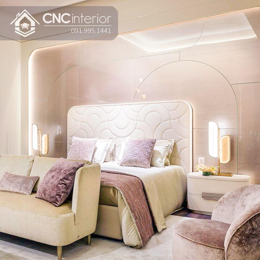 Giường ngủ gỗ công nghiệp bọc vải màu trắng tinh tế CNC 07 2