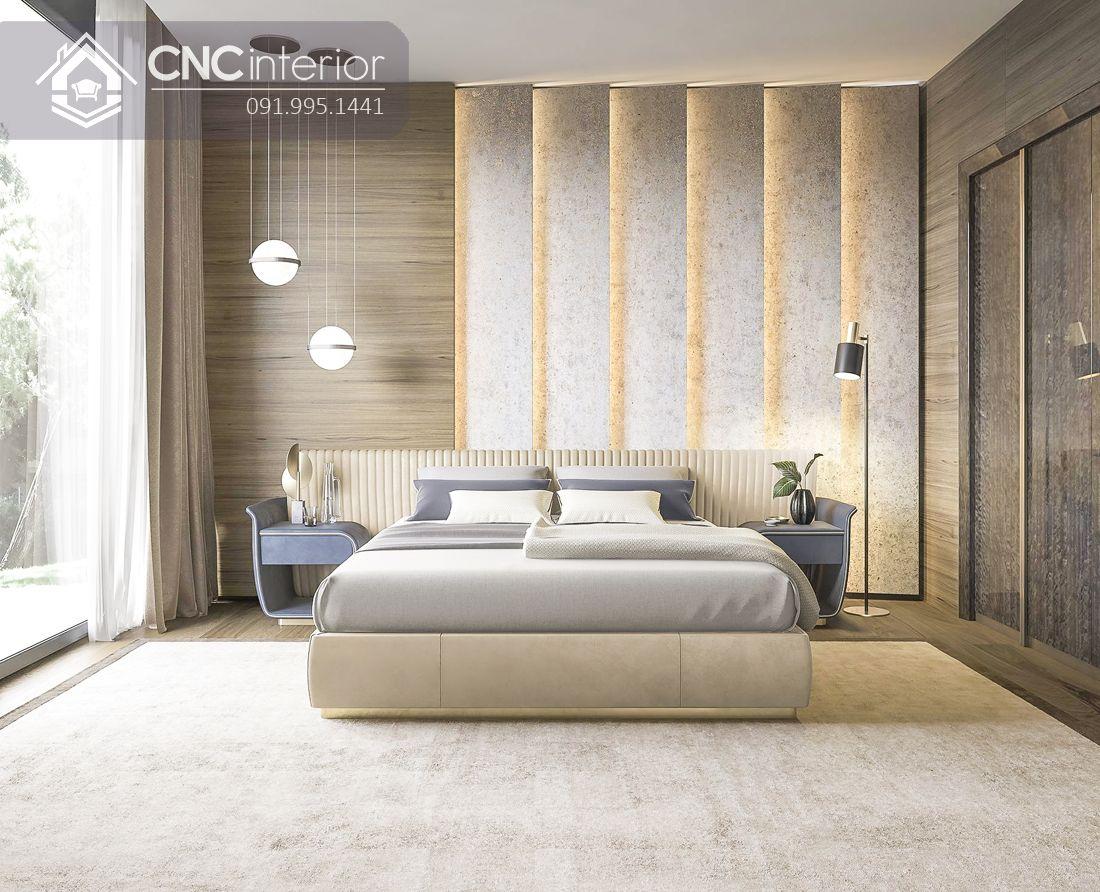 Giường ngủ bọc nệm màu trắng kem tinh tế CNC 09 1