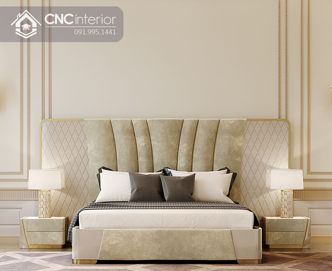 Giường ngủ gỗ công nghiệp bọc nhung đẹp trang nhã CNC 16