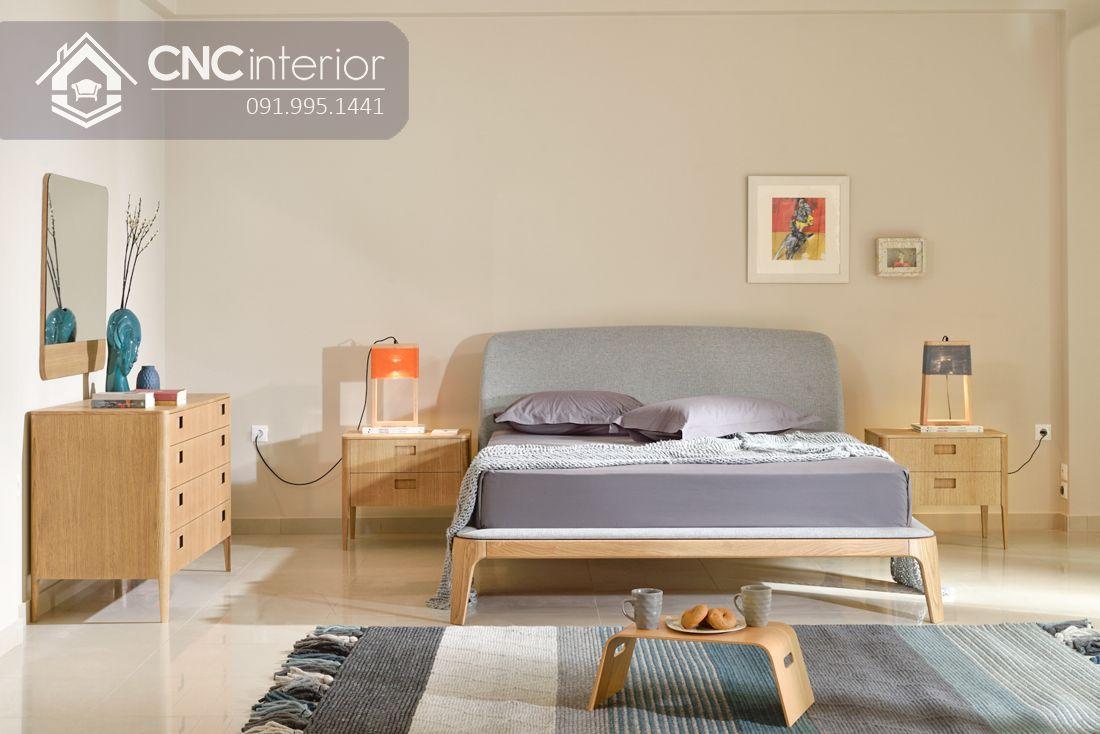 Giường gỗ tự nhiên bọc nỉ đẹp CNC 19