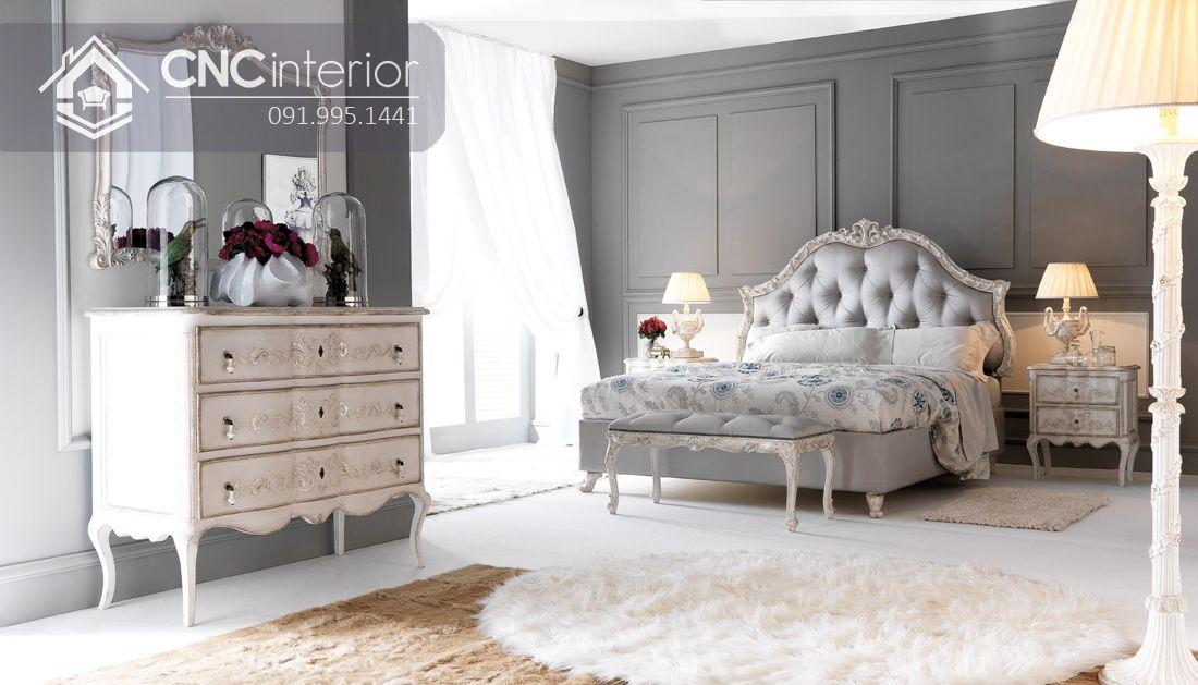 Giường ngủ gỗ sồi bán cổ điển sang trọng CNC 23
