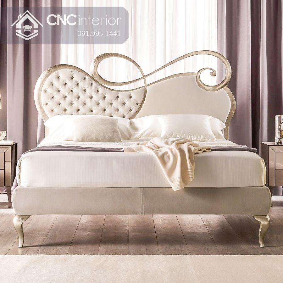 Giường ngủ tân cổ điển màu trắng trang nhã CNC 24