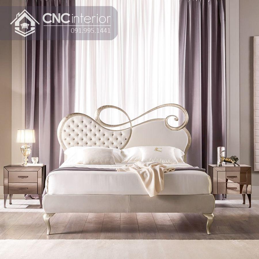 Giường ngủ tân cổ điển màu trắng trang nhã CNC 24 1