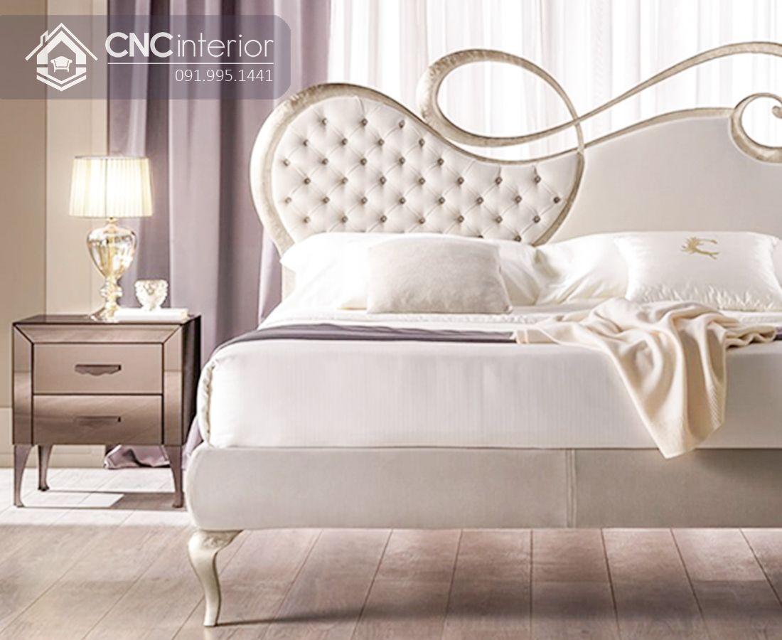 Giường ngủ tân cổ điển màu trắng trang nhã CNC 24 2