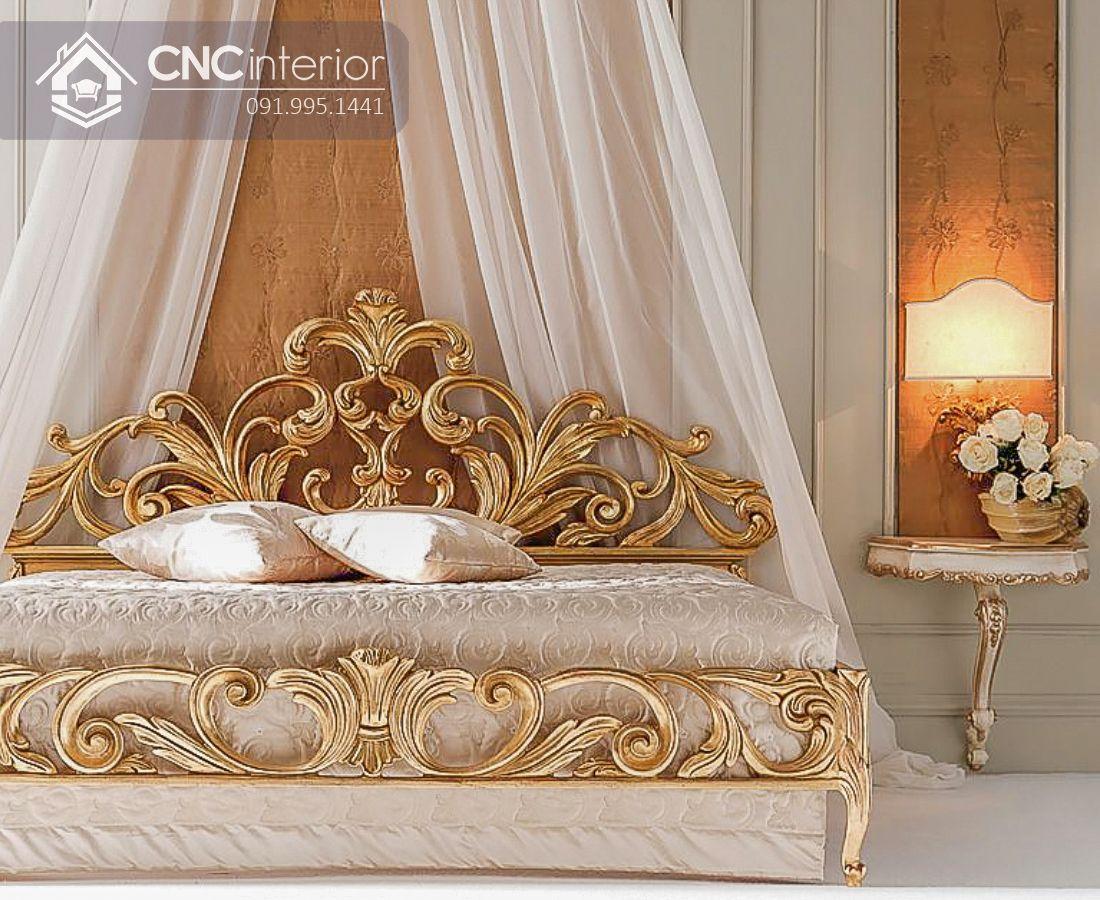 Giường ngủ gỗ sồi tự nhiên màu vàng vương giả CNC 29 1