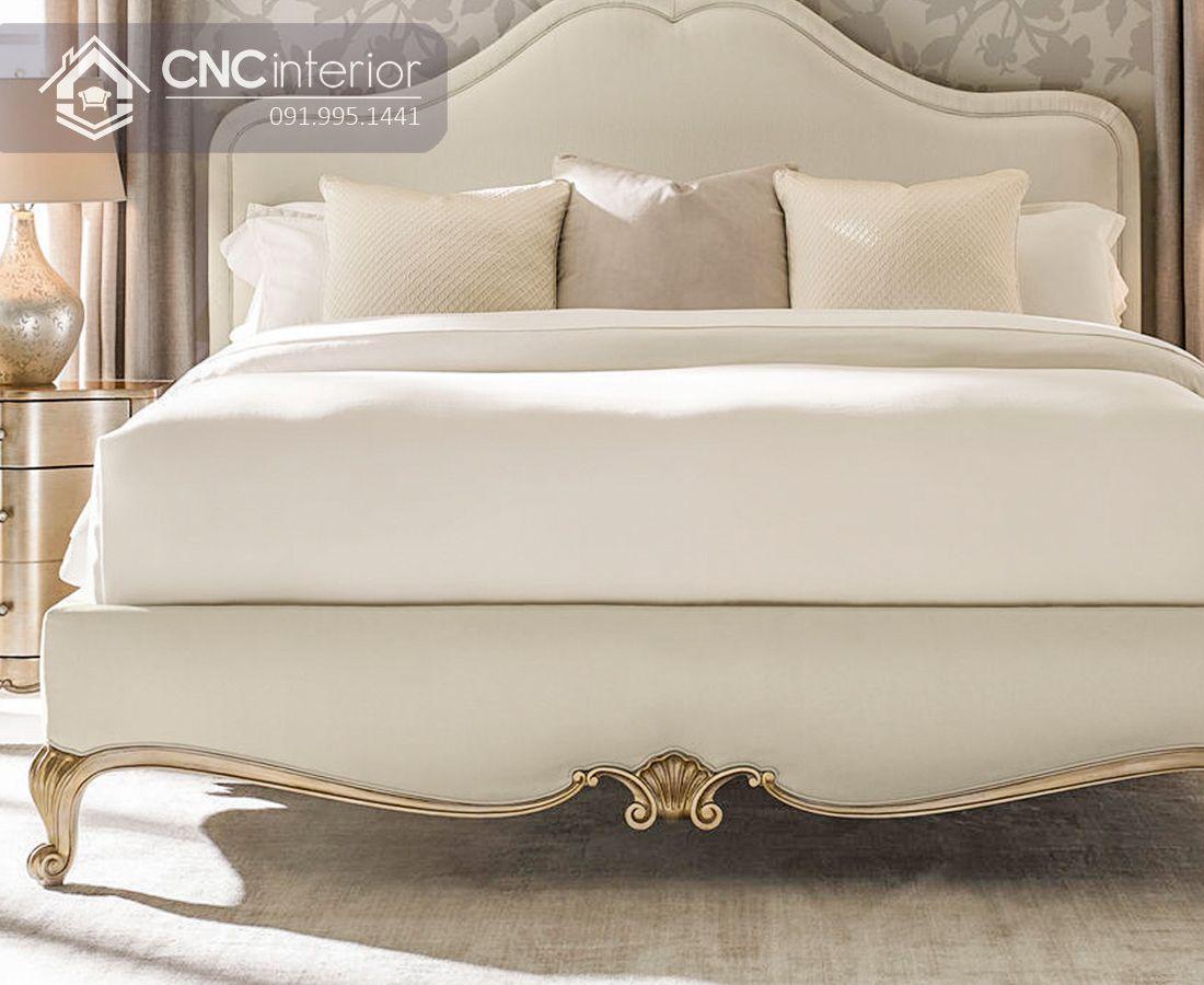 Giường ngủ tân cổ điển màu trắng thanh lịch CNC 32 2