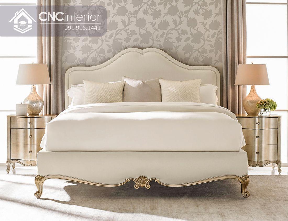 Giường ngủ tân cổ điển màu trắng thanh lịch CNC 32 1