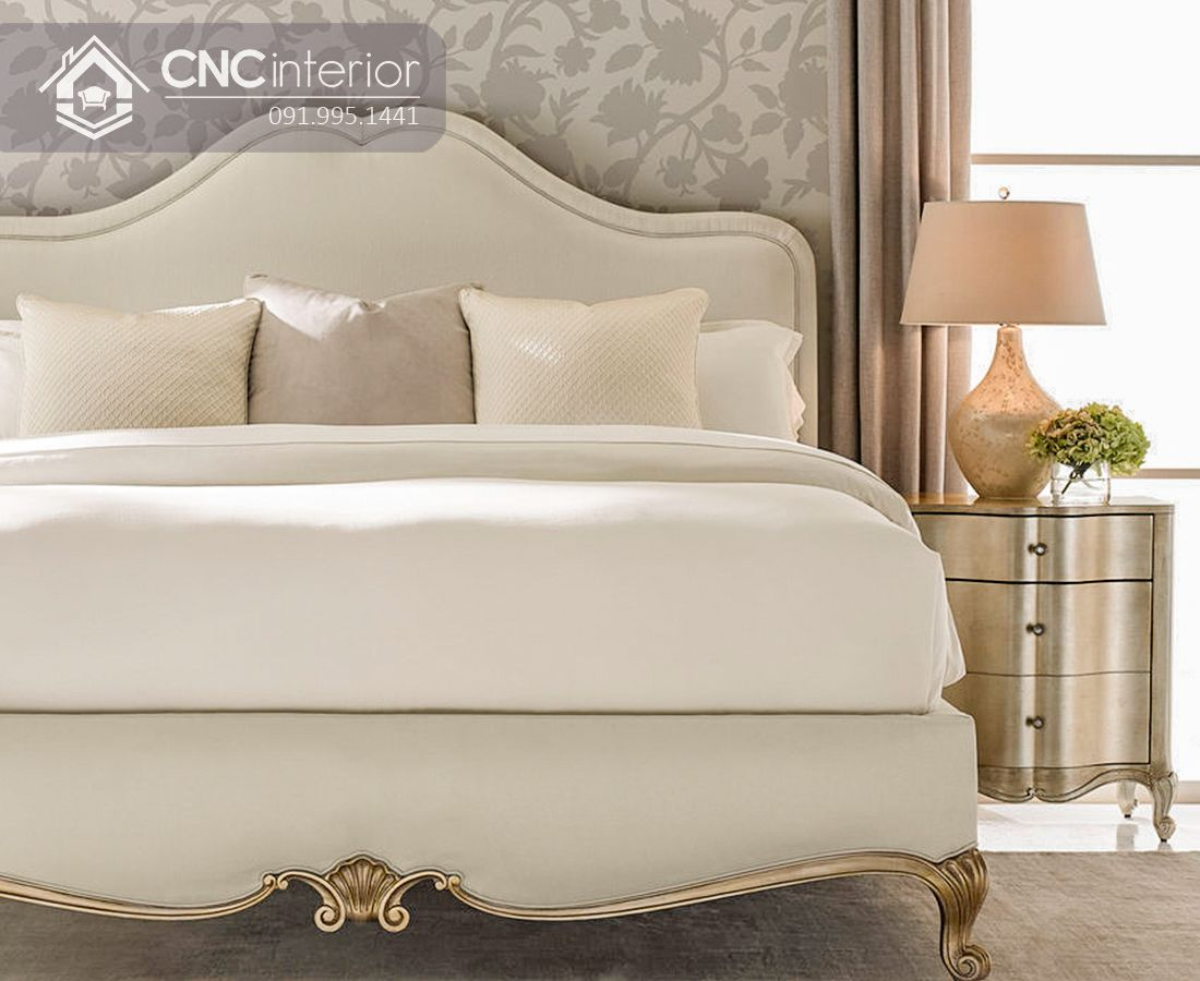 Giường ngủ tân cổ điển màu trắng thanh lịch CNC 32